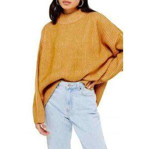 Topshop Mock Neck Oversized Mustard Chunky Sweater